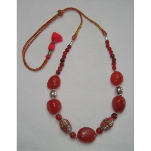 Red Carnailian Tumble Stone Necklace